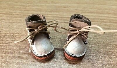 Handmade Blythe Doll Shoes # Khaki Cowhide Boots Fit Blythe Azone and Licca Doll