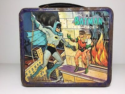 Vintage 1966 Batman And Robin Metal Lunchbox Aladdin Rare Adam West