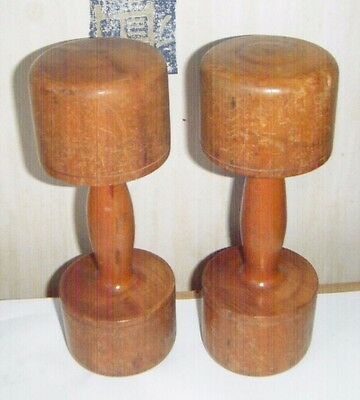 Pair of Vintage Wooden Dumbbell Weights for Home / Decor /  Gym / Exercise