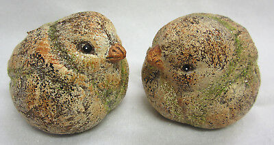 2 New Rustic Country Brown Bird Ornaments Figurines Suit Indoor or Outdoor A915B