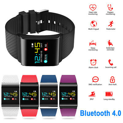 Color OLED Smartwatch Armband Blutdruck Pulsuhr Fitness Tracker Bluetooth IP67