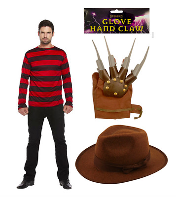 Mens Freddy Red /& Green Stripe Knitted Jumper Explorer Hat Hand Claw Glove Adult
