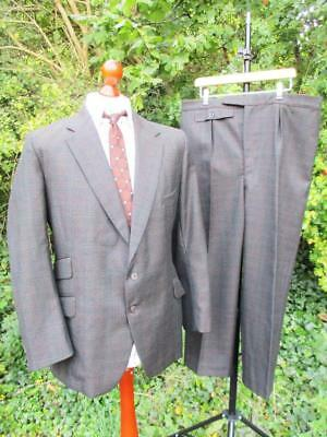 42S W38 - Vintage 1960's Mens Bespoke Green Check Wool 2Pce Suit Tailored - C791