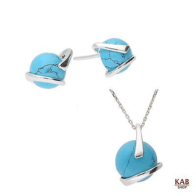 Turquoise Gemstone Sterling Silver 925 Jewellery Beauty Set, Kab-41