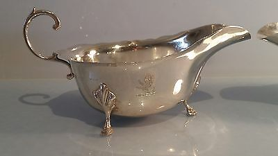 1946 Pair of solid silver sauce or gravy boats with Lion heraldic engraving