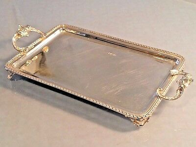 Superb 1905 Edwardian Silver miniature tray with scroll feet& heavy cast silver