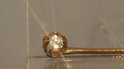 9ct gold  Diamond stickpin  pin stick brooch with eagle claw setting