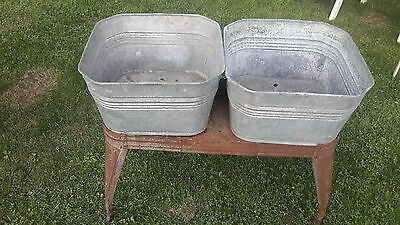 Antique Galvinized  Double washing tubs Reeves