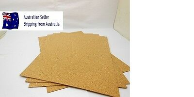 5 x A4 CORK SHEETS 210 x 297 x 1.2mm For Craft Stamping Coasters Art Kids DIY