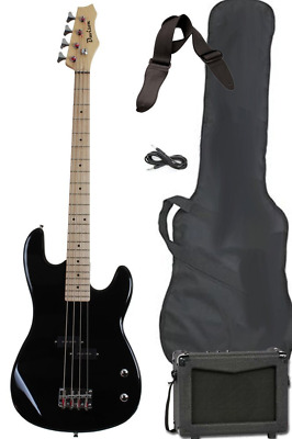 Full Size Electric Bass Guitar Starter Beginner Pack with Amp Case Strap Black P