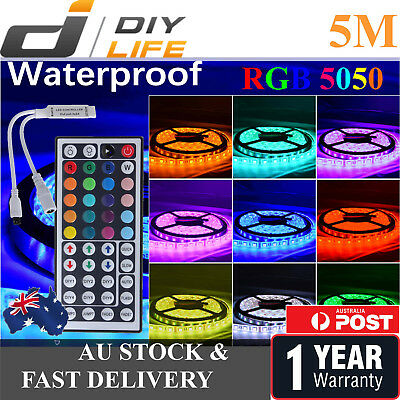 Waterproof 5050 RGB 5M 300 LEDS SMD LED Strip Light 12V 44 IRController Car Boat