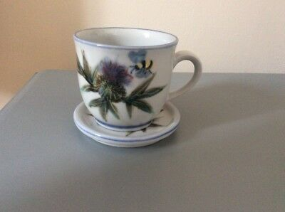 highland stoneware 225ml Thistle & Bee 🐝 Design Cup And Coaster