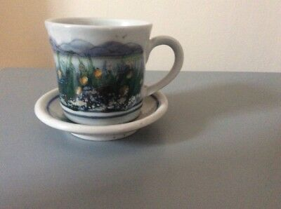 Highland Stoneware 6oz Cup And Coaster Vintage