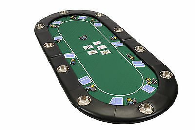 Riverboat Folding Poker Table Top in Green Speed Cloth 200cm Seats 10 People