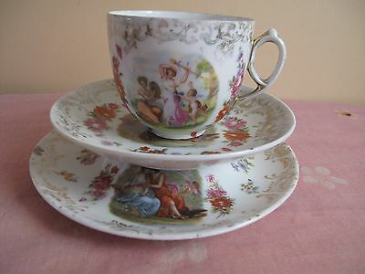 Antique C.G Schierholz&Son Chocolate Cup Saucer and Stand