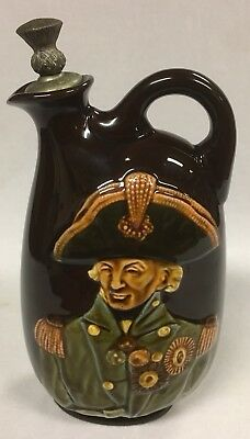 Antique Royal Doulton Dewar's Kingsware Lord Nelson Whisky Flask circa 1914