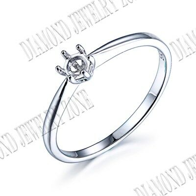 Sterling Silver Beautiful Solitaire Semi Mount Round Prong Set Round 3.5mm Ring
