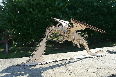 Laser cut ply wooden miniature Smaug Dragon from the Hobbit 3d puzzle / Kit