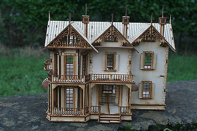 Laser Cut Ply wood wooden dolls house Victorian Gothic House 3d puzzle / Kit