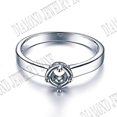 Round 4.5mm Silver Semi Mount Jewelry Round Prong Setting Engagement Fine Ring