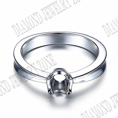 Round 5mm Sterling Silver Semi Mount Prong Setting Solitaire Simple Style Ring