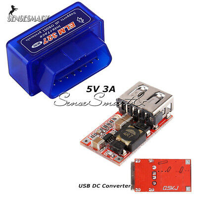 OBD2 II ELM327 V2.1 Bluetooth Diagnostic Car Interface Step Down Converter 5V 3A