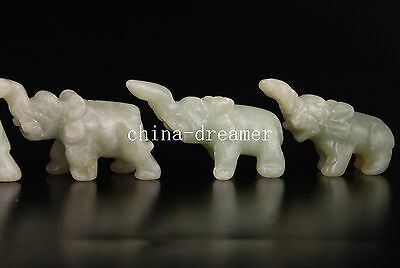 China 5 Jade Carving Ornament Cute Elephant Figurines Gifts Collectable