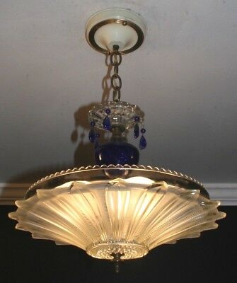 Antique frosted glass sunflower cobalt blue Art Deco light fixture chandelier