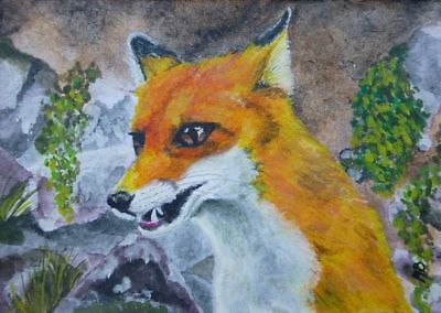 Fox aceo original miniature inktense watercolor ink painting art OOAK