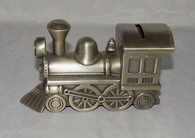 Pewter Steam Locomotive Train Bank Heavy Highly Detailed