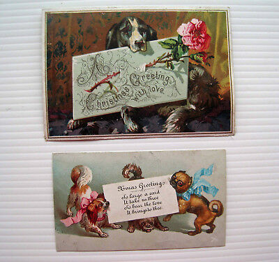 2 x Victorian Greetings Cards - Dogs with Christmas Messages! Pug Spaniel