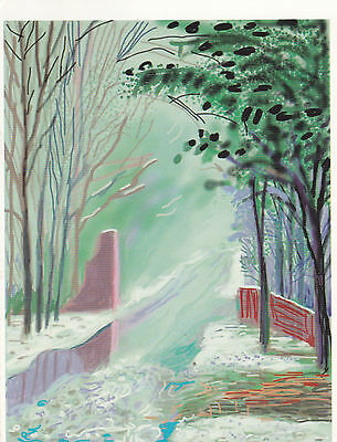 David Hockney The Arrival of Spring in Woldgate Postcard used VGC