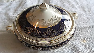 Crown Ducal 6107 Covored Vegetable Tureen Cobalt  With Gold Flowers & Leaves