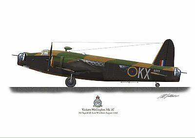Vickers Wellington Mk 1C Aircraft Profile Artwork 1941 A3 WW2 Glossy print