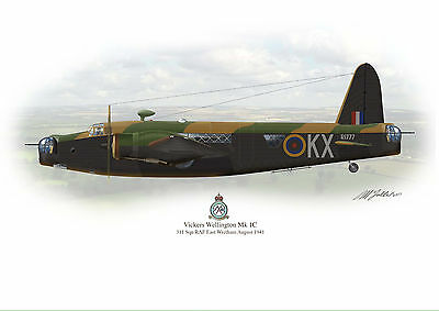 Vickers Wellington Mk1C Aircraft Profile Artwork 1941 in flight A3 Glossy print
