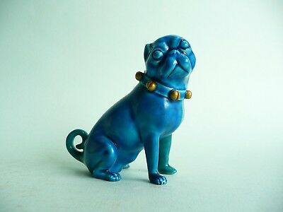19th century Continental turquoise porcelain pug dog.....................ref.433