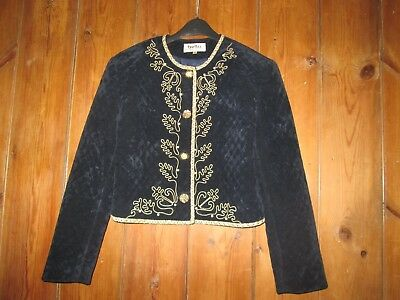 Blue Velvet Padded Gold Braided Embellished Vintage 1980's Jacket Bella