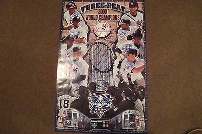 Ny Yankees 2000 World Series Autographed Poster - 30 Autographs