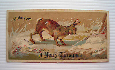 Victorian Christmas Card - Large Brown Hare in Icy Snowy Forest