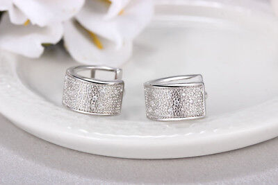 Shiny Solid 925 Sterling Silver Hoop Circle Huggie Tiny Cubic Zirconia Earrings