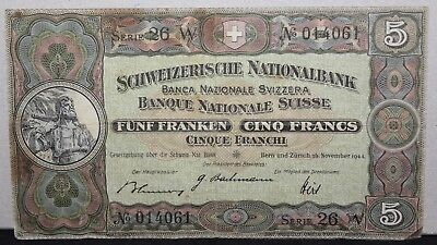 1944   Switzerland 5 Franc Bank Note   Bank Notes   KM Coins