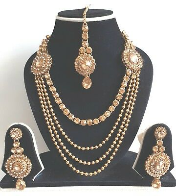 New Indian Bollywood Costume Jewellery Necklace Set Gold Bronze Stone