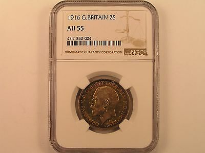 1916 Great Britain 2 Shillings NGC AU55 Great Toning