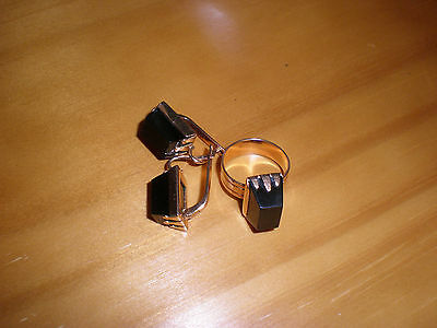 14K /583 Solid Rose Gold Soviet Russian Vintage Ring And Earrings Set, Obsidian