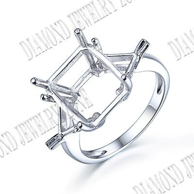 12x10mm Silver Prong Setting Solitaire Cushion Semi Mount Engagement Band Ring