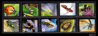 Canada Insects, Bugs, Beetles, Bees, Flies - 10 MNH