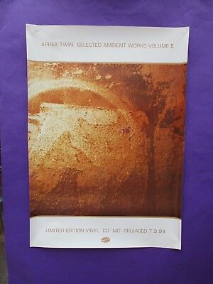 Aphex Twin Selected Ambient Works Vol 2 ORIGINAL UK 1994 PROMO POSTER warp edm