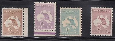 6d Brown, 9d violet, 1s green MNH and 2s maroon M - SMW wmk sg107-110