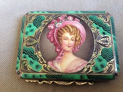 A Stunning Antique Solid Silver 800 Lovely Enameled And Engraved Compact