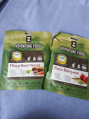 2 x adventure food dinners pasta Bolognese and mince beef hotpot DofE scout camp